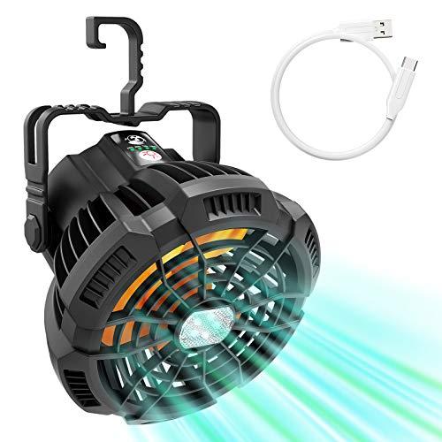 VOLUEX Ventilador Portátil para Camping con Luz LED, 3 Velocidades y Brillos, Carga rápida USB-C, 5200mAh Power Bank, con Control Remoto, Ventilador de Mesa para el Hogar, Exterior, Camping