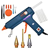 Craft Glue Gun Set, 150 Watts with 3 Copper Nozzles Temperature Adjustable DIY Repair Tool Professional Melting Glue Gun Include tweezer, Knife, Wrench, Finger Tips, Silicone mat and 5 Glue Sticks