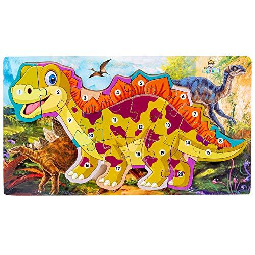 smonke Holzdinosaurier Puzzles 3D-Puzzles für Kleinkinder Tiere Puzzles für Kinder Holz Dinosaurier Nummer Buchstaben Puzzle Kinder pädagogische dreidimensionale 3D-Tier Puzzle Baustein Spielzeug