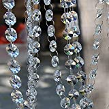 ZEONHEI 12 Pack 39FT Crystal Garland, Clear Crystal Bead Chain Octagon Hanging Diamond Glass Strands Trim for Christmas Tree Decorations Door Curtains Wedding Birthday Party DIY