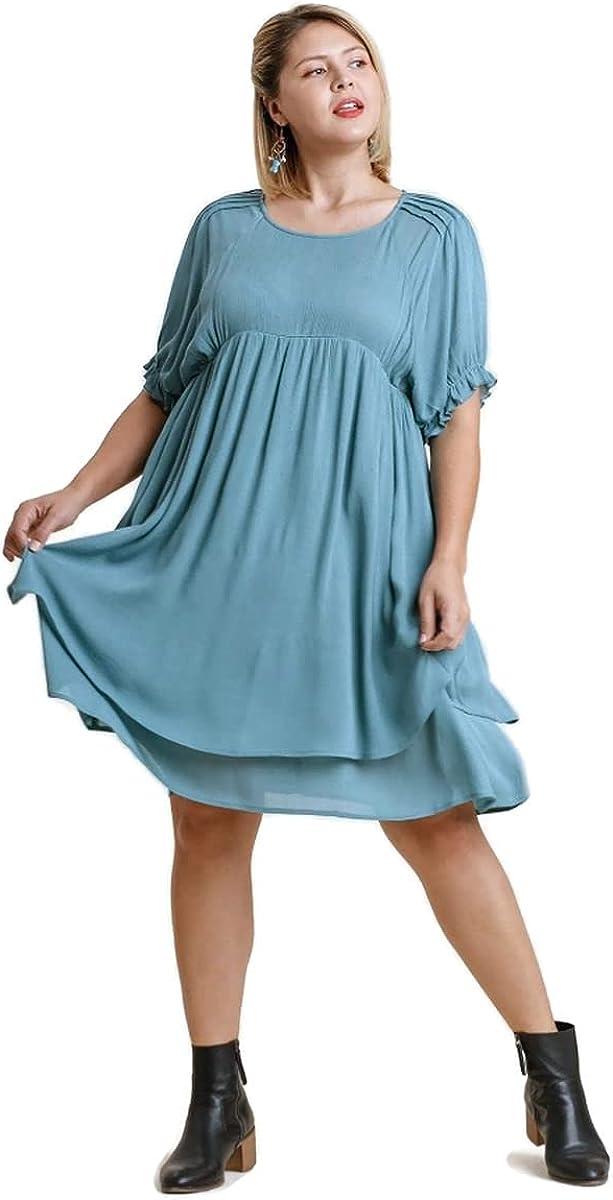 umgee USA Women's Short Puff Sleeve Keyhole Layered Dress