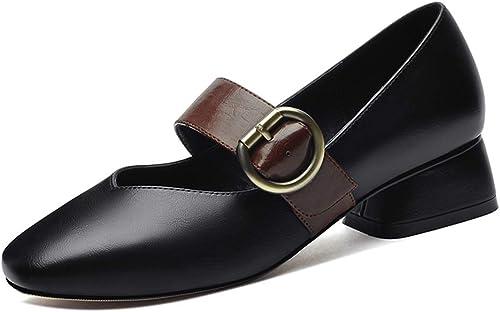 Chaussures Femme épaisse avec Printemps Et Eté Nouvelle Tête Carrée Bouche Peu Profonde Boucle Unique Chaussures avec des Chaussures De Femmes (Couleur   Noir, Taille   35)