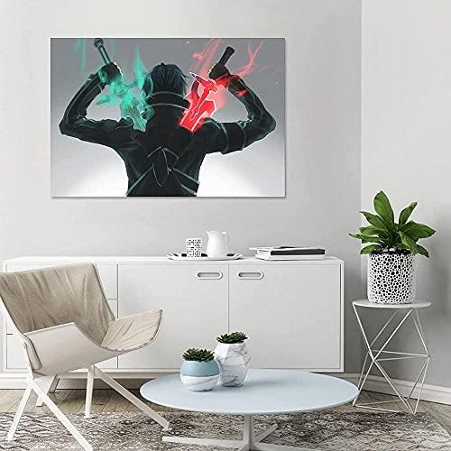 JSYEOP Póster de lona de Kirito con espada de anime para dormitorio, decoración deportiva, paisaje, oficina, habitación, regalo, 20 x 30 cm