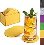 Sidorenko Filz Untersetzer rund für Gläser - 10er Set Ink. Box - Design Glasuntersetzer in gelb...