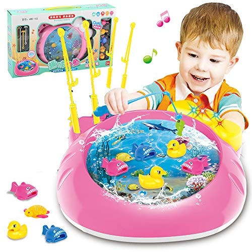 ZMH Kinder-Angel Spielzeug, Elektro-Magnet Wasser-Spiel-Angel Plattform Kinderspielzeug Multi-Funktion Musik-Puzzle Kann Aqua-Cartoon-Angel Tablett Hinzugefügt Werden
