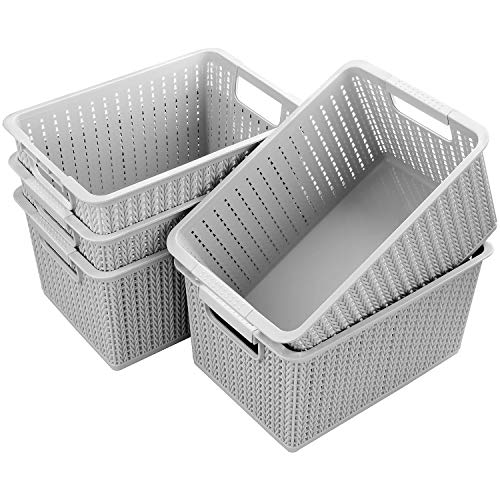 Acrux7 5 Pack Plastic Storage Basket, Portable Plastic Weave Kitchen Refrigerator Basket Bathroom Desktop Storage Box for Kitchen, Bathroom and Cabinet - 10.6Inch x 7.5Inch x 5.5Inch (Gray)