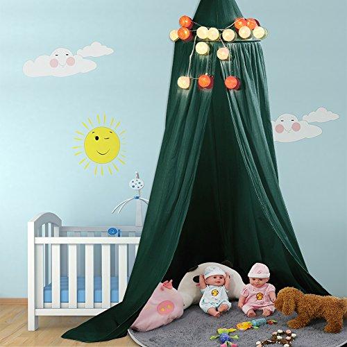 Betthimmel Baldachin aus Baumwolle Leinwand Deko Baldachin für Kinderzimmer Babybetthimmel auch als Mückenschutz Gute Luftzirkulation, mit Installation Tools, Höhe 235cm (Dunkelgrün)