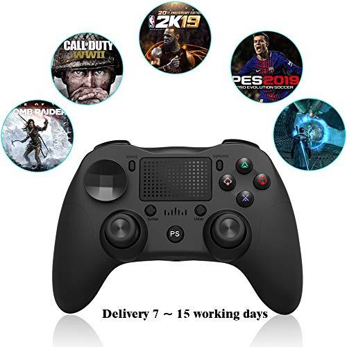 RUIXINBC Control Inalámbrico para PS4 / PS4 Delgado / PS4 Pro Controller, Controlador Gamepad Bluetooth con Pantalla Táctil, Joystick Inalámbrico con Auriculares De 3,5 Mm Jack,Negro