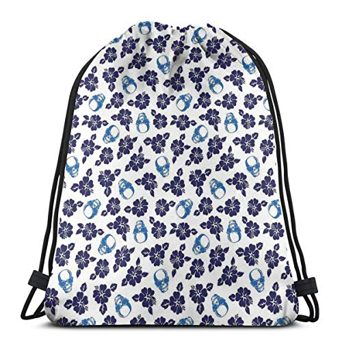 Jiger Drawstring Tote Bag Gym Bags Storage Backpack, Tropical Hibiscus Flowers with Cool Skull Sunglasses Foliage Silhouette,Very Strong Premium Quality Gym Bag for Adults & Children