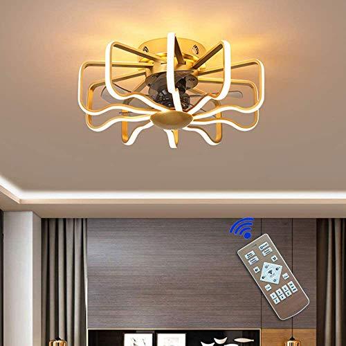 Ventilador de techo ajustable, velocidad del viento ligero LED  Ventilador de la cuadrícula creativa Ventilador invisible con control remoto, para el dormitorio Sala de estar comedor [Clase de energ