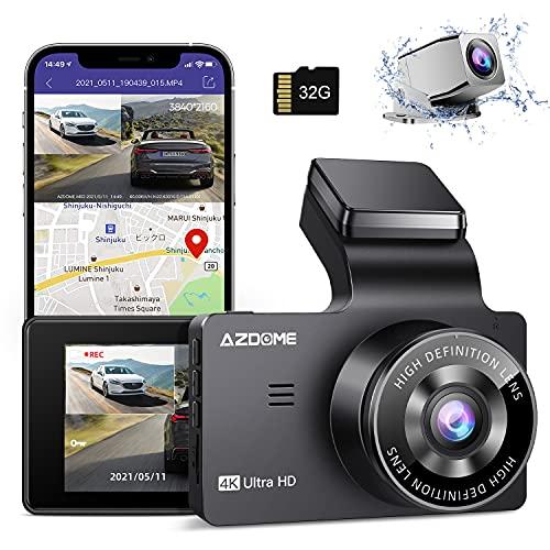 ドライブレコーダー 前後カメラ 4K wifi GPS搭載 駐車監視 32GB SDカード同梱 3イチIPSタッチスクリーン ドラレコ 前後カメラ SONY415センサー WDR搭載 暗視機能 Gセンサー 常時録画+緊急録画 LED信号対応 ノイズ対策済 初心者取り付け簡単 日本語取扱説明書 12ヶ月品質保証 AZDOME M63