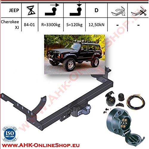 ATTELAGE avec faisceau 7 broches | Jeep Cherokee de 1988 à 1997 / crochet «col de cygne» démontable avec outils