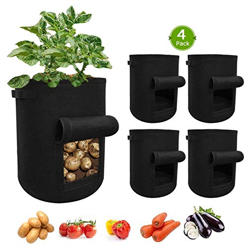 Teocenka 10 Gallon Grow Bags with Handles and Harvest Window for Planting Potato Tomato and Vegetables in The Garden (4 Pack)