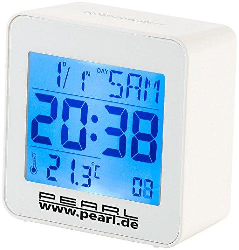 PEARL Uhr beleuchtet: Kompakter Digital-Funkwecker mit Temperaturanzeige und Kalender (Digitaler Reise Funk Wecker)