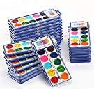Keebor Basic 12-Colors Washable Watercolor Paint Bulk Set of 24 with Wood Brushes for Kids