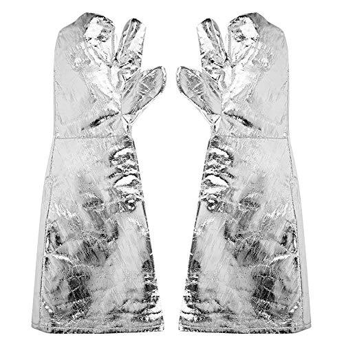 Ongoion Hochtemperaturbeständiger Handschuh, Aluminiumfolie 1000 ℃ Hochtemperatur-hitzebeständiges Schweißen Sicherheitsarbeit Handschuh verlängern