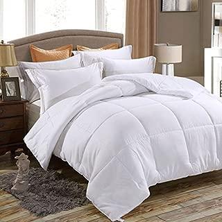 Juwenin bedding,Down Alternative Comforter, Duvet Insert, Medium Weight for All Season, Fluffy, Warm, Soft & Hypoallergenic (Twin, Pure White)