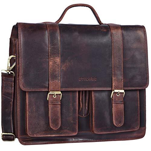 STILORD 'Marius' Klassische Lehrertasche Leder Schultasche XL groß Aktentasche zum Umhängen Businesstasche Laptoptasche echtes Rindsleder, Farbe:Kara - braun