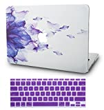 KECC Laptop Case for MacBook Air 11' w/Keyboard Cover Plastic Hard Shell Case A1465/A1370 2 in 1 Bundle (Purple Flower)