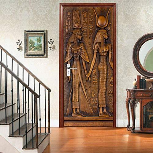 GRBZL Türposter Ägyptischen Pharao Bild 3D Vinyltür Aufkleber Tapete Abnehmbare Aufkleber Poster DIY Kunst Dekoration 77 cm X 200 cm