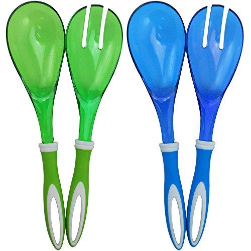 com-four® 4-teiliges Set Salatbesteck in blau und grün zum Servieren Ihrer köstlichen Salate (04-teilig - blau/grün)