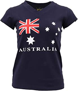 New Womens Ladies Australia Day Cotton T Shirt Australian Souvenir Flag Tee Tops