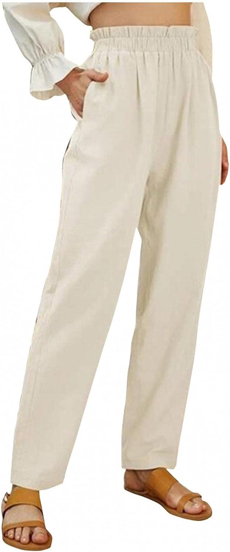 VEKDONE Women Casual Pockets Cotton Linen Wide Leg Work Pants Loose Elastic Waist Capris High Waist Pencil Pants Trousers