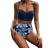 Writtian Bikini Damen 2 Piece Bandeau Bikinis Tankini Neckholder Push Up Bikini Set mit Shorts
