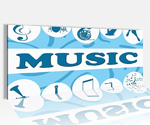 Acrylglasbild 100x40cm Musik music Noten Cartoon blau abstrakt Kunst Acrylbild Acryl Druck Acrylglas Acrylglasbilder 14A8726, Acrylglas Größe1:100cmx40cm