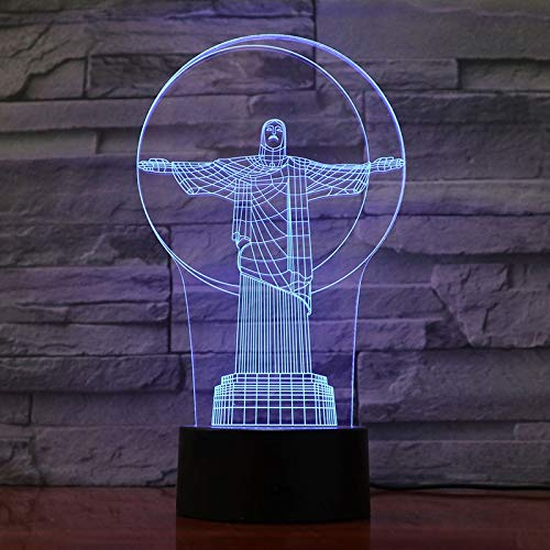 3D Night Light Christ The Redeemer in Brazil Visual Effect Bedside Decor Table Lamp Night Light Atmosphere