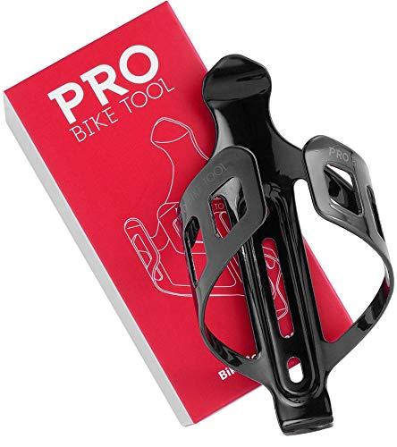 PRO BIKE TOOL Fahrrad-Wasserflaschenhalter - Schwarz oder weiß glänzend, matt schwarz - Sicheres Rückhaltesystem - Leichter und Stabiler Fahrradflaschenhalter - Für Straßen- und Mountainbikes