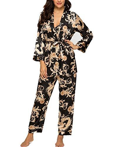Damen Satin Schlafanzug Set 3PC Seide Pyjama Lang Blumenmuster Nachtwäsche Sleepwear Cami Top Pyjamahose Robe mit Gürtel S-XXL