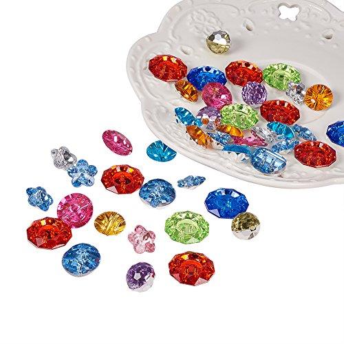 PandaHall 144PCS Bottoni Cristallo Bottoni Decorativi Bottoni Colorati Acrilico Sfaccettato, Forma Misto, Colore Misto, 12-18x6.5-10mm, Foro: 1-1.5mm