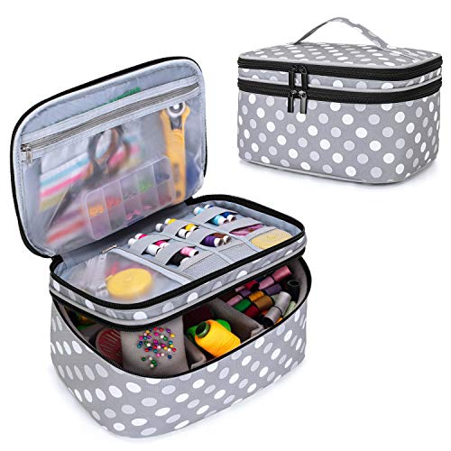 Luxja Double-Layer Sewing Accessories Organizer, Sewing Supplies Organizer for Needles, Thread, Scissors, Measuring Tape and Other Sewing Tools, Large/Polka Dots