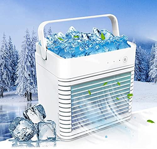 Enfriador de aire portátil, aire acondicionado portátil móvil, ventilador de escritorio de 3 velocidades de viento ajustable, aire acondicionado recargable, ventilador de escritorio usb sin ruido de r