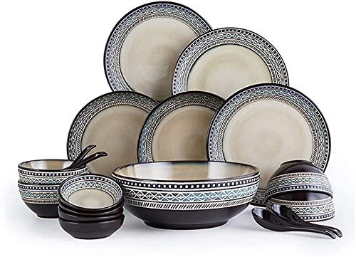 Juego de Platos, Juego de vajillas de cerámica con 18 Piezas, Placa/Placa/Cuchara | Conjuntos de Cena, Juego de combinación de Porcelana de Relieve, marrón, Euro Ceramica