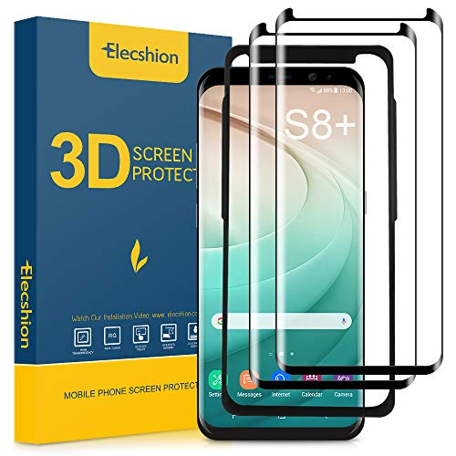 (2-Pack) Galaxy s8 Plus Screen Protector, Elecshion Dot Matrix Tempered Glass 3D Curved Screen Protector for Samsung Galaxy S8 Plus with Easy Installation Tray