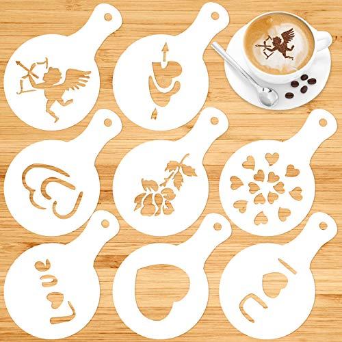 Qpout 8 Stück Valentinstag Kaffee Schablonen, Valentinstag Kuchen Fondant Dessert Dekoration Prägeform, Liebe Thema Kunststoff Malvorlagen für Valentinstag Hochzeitstag
