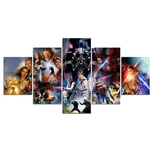 WARMBERL Canvas Paintings Impression Moderno 5 Pièces De Toile Art Mural Peinture Star Wars Personnages Affiches De Film Vintage Et Impression De Photos Murales Prints on Canvas Framed