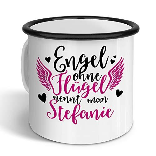 printplanet - Emaille-Tasse mit Namen Stefanie - Metallbecher mit Design Engel - Nostalgie-Becher, Camping-Tasse, Blechtasse, Farbe Schwarz, 400ml
