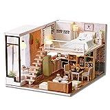 Decdeal DIY Puppenhaus Moderne Atmosphäre Loft Wohnzimmer Schlafzimmer 3D Holz Miniaturhaus mit LED...