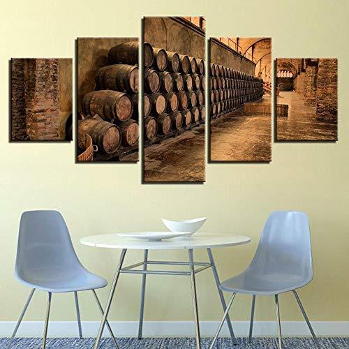 GSDFSD Pared Arte de Obras de Arte Moderno Barriles de Vino para Colgar Cuadros sobre El Lienzo con Bastidor(150x80cmx5pcs)