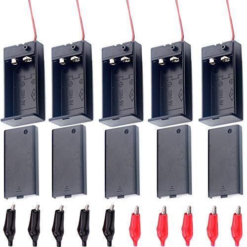 Her Kindness 5 pcs 9V Batteriehalter Fall Kunststoff Batterie Aufbewahrungsbox und 10 Stück Krokodilklemmen Mit An-/Aus-Schalter und Kabel