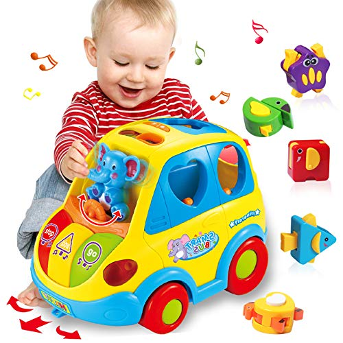 HOMOFY Baby Toy 12-18 Months, Musical Shape Smart Bus & Go Action Bus Early Education Toy ,Various Animal Sounds/Music/Light/Animal Puzzles, Gift Toys for 1 2 3 Year Old Boys Girls Kids Toys (Big)