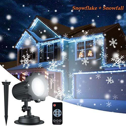 Dingcaiyi Proyector Navidad LED Nieve Luz del Proyector con Control Remoto Impermeable Iluminación de Jardín Lámpara de Proyección para Fiesta Boda Celebraciones Pared Decoración Exterior Interior