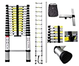 Todeco - Telescopic Ladder, Foldable Ladder - Maximum Load: 330 lbs - Number of Steps: 14-13.5 feet, Free Carry Bag, USA