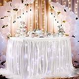 NSSONBEN Falda de mesa de tul LED blanco de 2,7 m para fiesta de cumpleaños de boda de 3 yardas