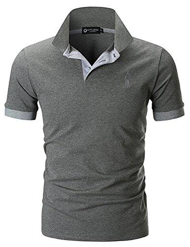 STTLZMC Polo para Hombre de Manga Corta Casual Moda Algodón Camisas Cuello en Contraste Golf Tennis,Gris,XL