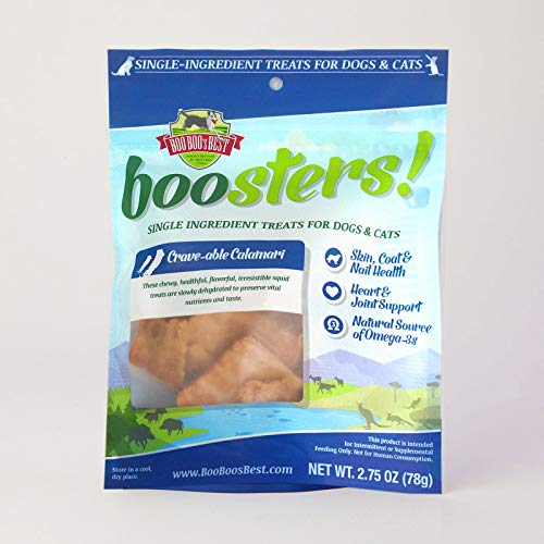 Boo Boo'S Best Boosters! Crave-Able Calamari Single-Ingredient Dehydrated Treat For Dogs And Cats, 2.5 Oz