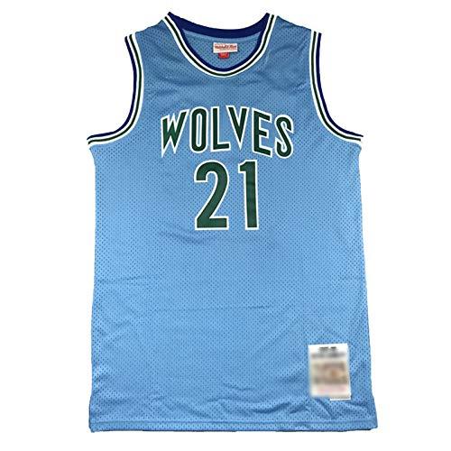 CLKI #21 Timberwolves - Camiseta de baloncesto con bordado retro para hombre, malla transpirable (S-2XL), color azul B-XL